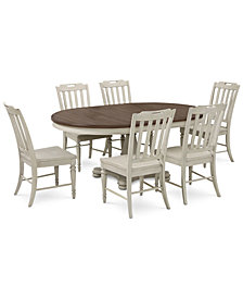 Barclay Expandable Round Pedestal Dining, 7-Pc. Set (Round Dining Pedestal Table & 6 Side Chairs)
