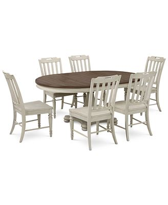 Furniture Barclay Expandable Round Pedestal Dining 7 Pc Set Round
