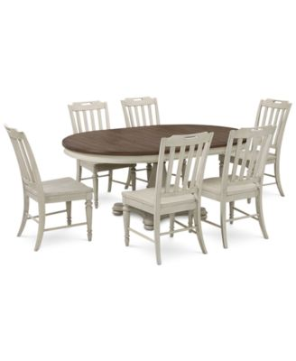 Barclay Expandable Round Pedestal Dining, 7 Pc. Set (Round Dining Pedestal  Table
