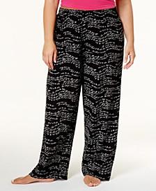 Plus Size Wavy Script Cotton Pajama Pants