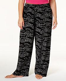 HUE® Plus Size Wavy Script Cotton Pajama Pants