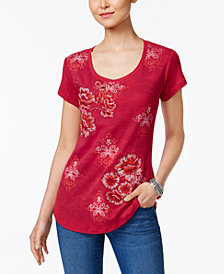 Style & Co Petite Embroidered Graphic-Print Top, Created for Macy's