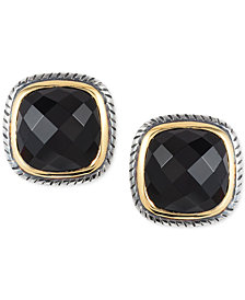 Eclipse by EFFY® Onyx Stud Earrings in Sterling Silver & 18k Gold
