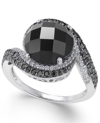 Onyx, Diamond (1/5 ct. t.w.) & Black Spinel Ring in Sterling Silver