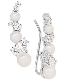 Cultured Freshwater Pearl (3-1/2 - 5-1/2mm) & Swarovksi Zirconia Ear Climbers in Sterling Silver, Created for Macy's
