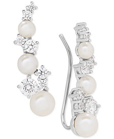 Arabella Cultured Freshwater Pearl (3-1/2 - 5-1/2mm) & Swarovksi Zirconia Ear Climbers in Sterling Silver, Created for Macy's