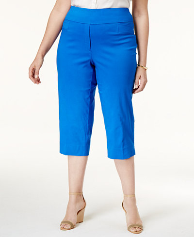 Alfred Dunner Plus Size Corsica Collection Pull-On Capri Pants ...