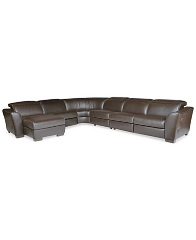 Alessandro 6-pc Leather Sectional Sofa with Chaise with 2 Power Recliner with Articulating Headrest, Created for Macy's