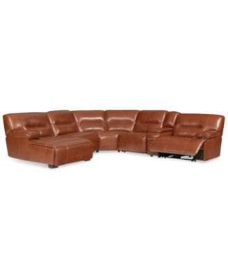 Beckett 6-pc Leather Sectional Sofa with Chaise and 1 Power Recliner Created for  sc 1 st  Macyu0027s : brown leather sectional chaise - Sectionals, Sofas & Couches