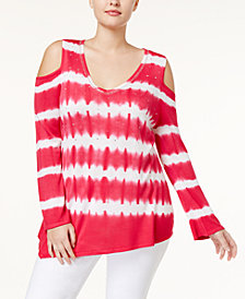 Belldini Plus Size Cold-Shoulder Sweater
