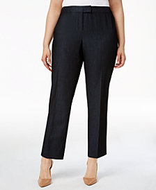 Anne Klein Plus Size Denim Twill Straight-Leg Pants