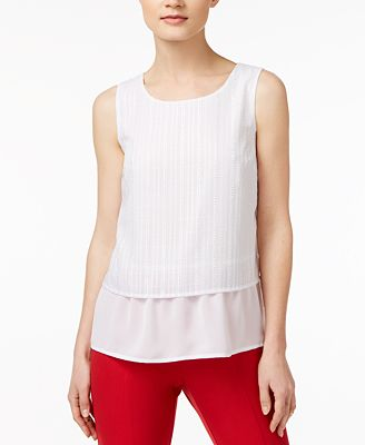 Maison Jules Textured Contrast Top, Created for Macy's