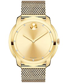 Movado Men's Swiss Bold Diamond (3/8 ct. t.w) Gold-Tone Ion-Plated Stainless Steel Mesh Bracelet Watch 44mm 3600460