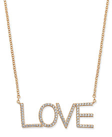 "Diamond ""Love"" Pavé Pendant Necklace (1/4 ct. t.w.) in 14k Gold or White Gold"
