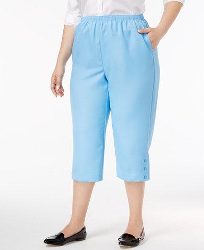 Alfred Dunner Plus Size Classics Button-Hem Capri Pants - Pants ...