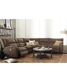 Brant Fabric Power Reclining Sectional Sofa Collection with Power Headrests and USB Power Outlet