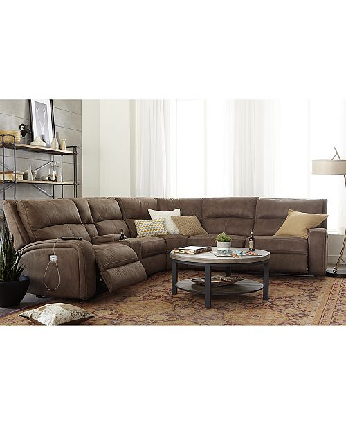 LIMITED AVAILABILITY Brant 6-Pc. Fabric Sectional Sofa with 3 Power  Recliners, Power Headrests, Console and USB Power Outlet