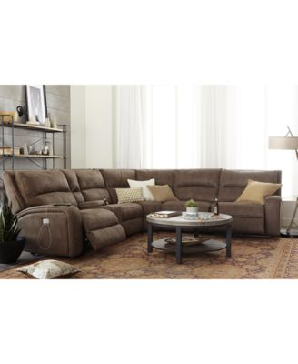 Brant Fabric U0026 Leather Power Reclining Sectional Sofa Collection With Power  Headrests And USB Power Outlet