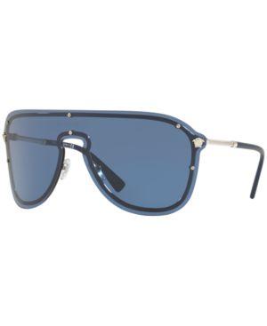 150Mm Shield Sunglasses - Mirror/ Silver, Silver/Blue