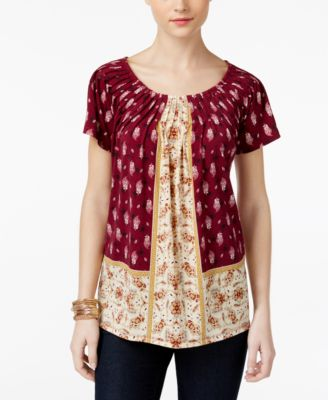 Image of Style & Co Printed Pleat-Neck Top, Only at Macy's