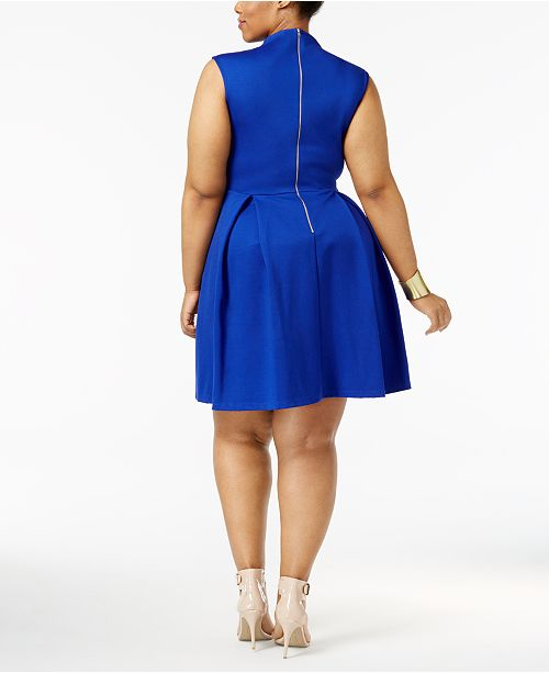 Soprano Trendy Plus Size Pleated Fit & Flare Dress & Reviews ...