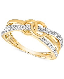 Wrapped™ Diamond Double Circle Ring (1/6 ct. t.w.) in 10k Gold, Created for Macy's