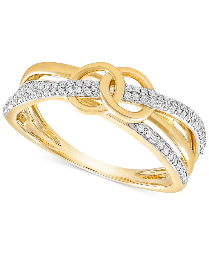 Wrapped - Diamond Double Circle Ring (1/6 ct. t.w.) in 10k Gold