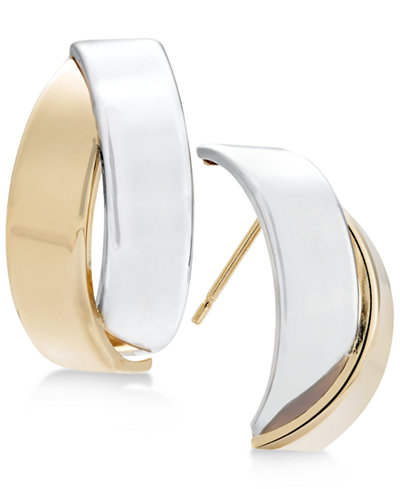 Two-Tone Overlap Drop Earrings in 14k Gold and White Gold
