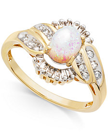 Opal (1/2 ct. t.w.) & Diamond (1/3 ct. t.w.) Ring in 14k Gold