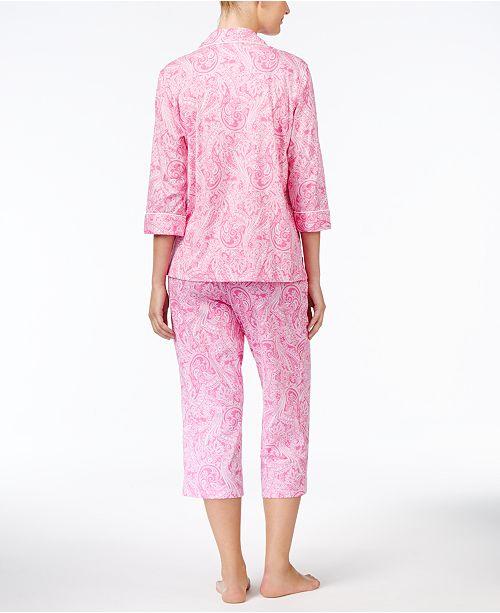 a9a86a3a44b2 Lauren Ralph Lauren 3 4 Sleeve Cotton Notch Collar Capri Pant Pajama ...