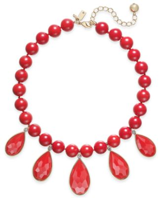 Image of kate spade new york Gold-Tone Cubic Zirconia & Colored Stone Beaded Necklace