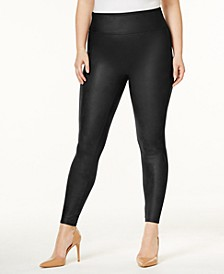 Women's  Plus Faux-Leather Tummy Control Leggings