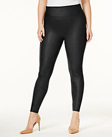 SPANX Women's  Plus Faux-Leather Tummy Control Leggings