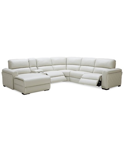 Jessi 6-pc Leather Sectional Sofa with Chaise & Center Console with 2 Power Recliner, Created for Macy's