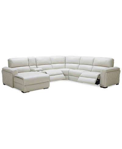 Jessi 6 Pc Leather Sectional Sofa With Chaise Center Console And 2
