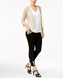 Thalia Sodi Illusion Cardigan, Ruffled Tank Top & Embroidered Jeans, Created for Macy's