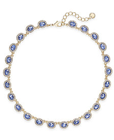 Charter Club Silver-Tone Pavé & Pink Stone Collar Necklace, Created for Macy's