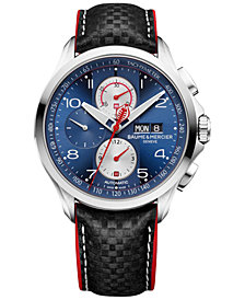 Baume & Mercier Men's Swiss Automatic Chronograph Clifton Club Shelby Cobra Black Leather Strap Watch 44mm - Limited Edition