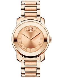 Movado Women's Swiss BOLD Rose Gold-Tone Stainless Steel Bracelet Watch 32mm