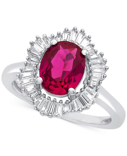 Macy's Lab-Created Ruby (1-7/8 ct. t.w.) and White Sapphire (3/4 ct. t.w.) Ring in Sterling Silver
