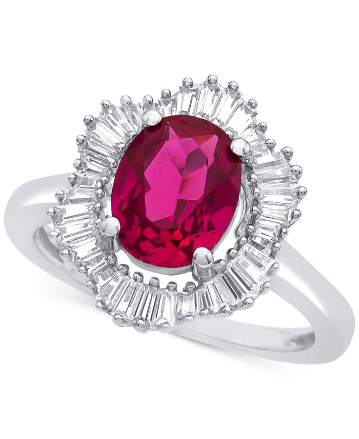 Macy's - Lab-Created Ruby (1-7/8 ct. t.w.) and White Sapphire (3/4 ct. t.w.) Ring in Sterling Silver