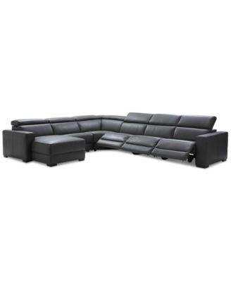 nevio 6pc leather sectional sofa with chaise with 3 power recliners and headrests created for macyu0027s