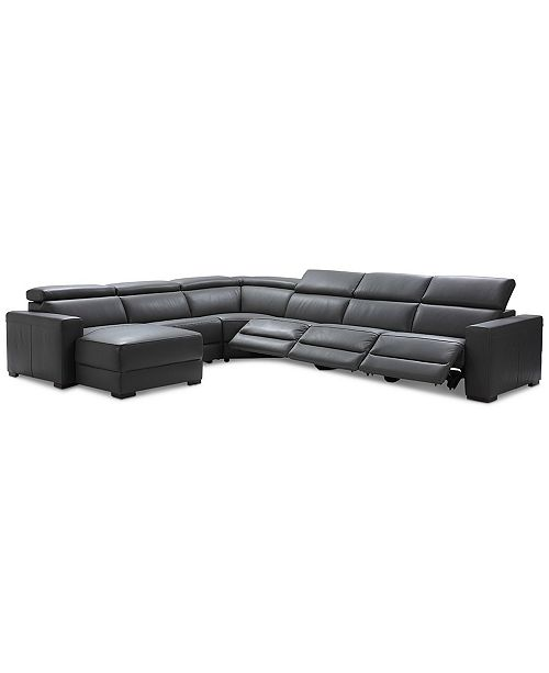 Furniture Nevio 6-pc Leather Sectional Sofa with Chaise, 3 Power Recliners and Articulating Headrests, Created for Macy's