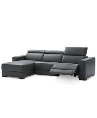 nevio 3pc leather sectional sofa with chaise 1 power recliner and headrests created for macyu0027s