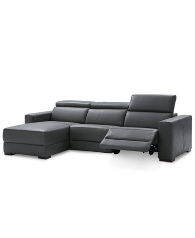 Nevio 3 Pc Leather Sectional Sofa With Chaise 1 Recliner And Articulating Headrests