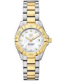 Women's Swiss Aquaracer Diamond-Accent Stainless Steel & 18k Gold Bracelet Watch 27mm