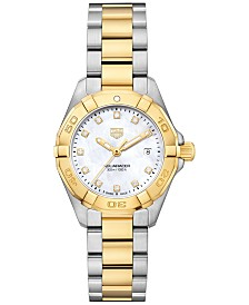 TAG Heuer Women's Swiss Aquaracer Diamond-Accent Stainless Steel & 18k Gold Bracelet Watch 27mm