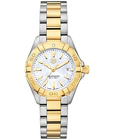 Women's Swiss Aquaracer Stainless Steel & 18k Yellow Gold Bracelet Watch 27mm