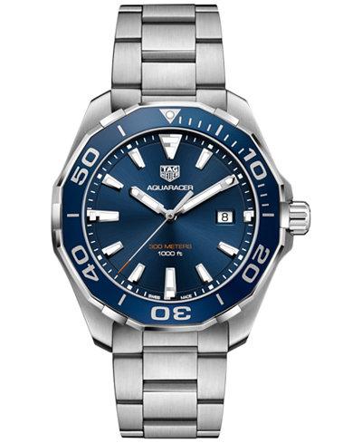 TAG Heuer Men's Swiss Aquaracer Stainless Steel Bracelet Watch 43mm