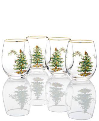 Christmas Tree Stemless Wine Glasses, Set Of 4